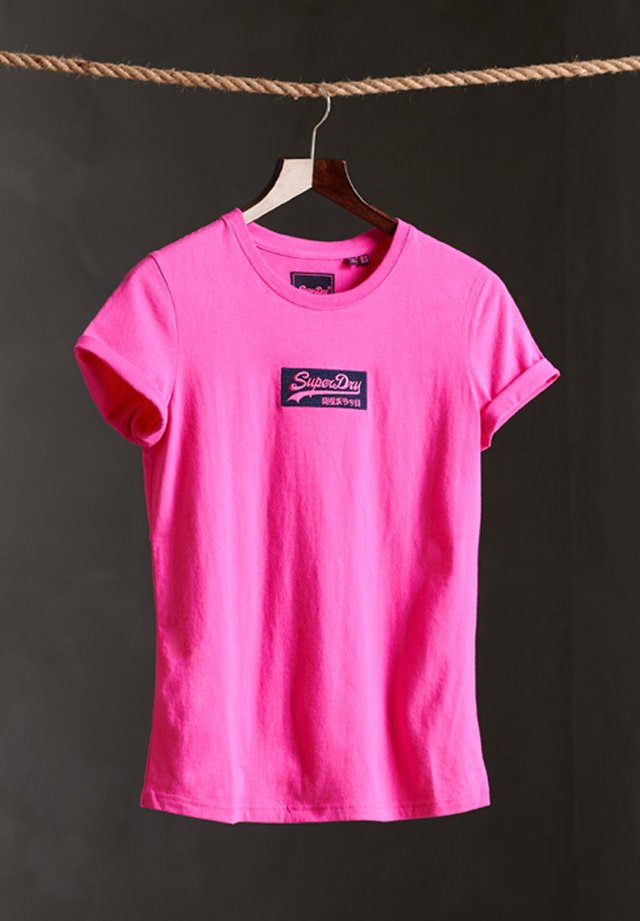 MICRO EMBROIDERED BOX - T-shirt basic - sweet fuchsia