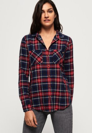 Button-down blouse - red navy