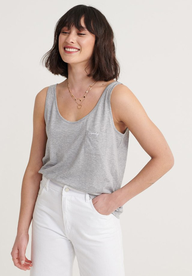 SUPERDRY ORGANIC COTTON ESSENTIAL TANK TOP - Top - mid grey marl