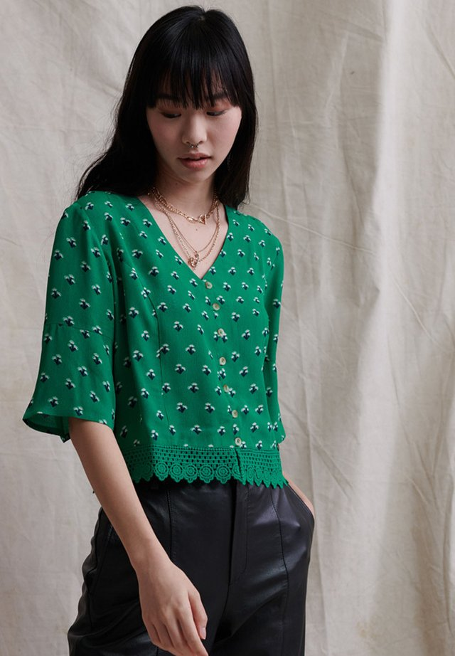 Blouse - green ditsy