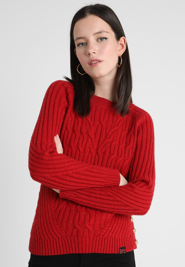 Superdry - HESTER CABLE JUMPER - Jumper - deep cherry