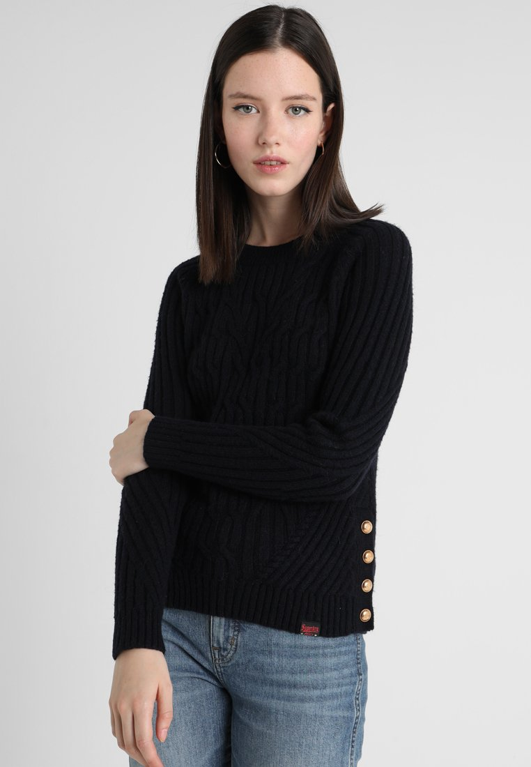 Superdry - HESTER CABLE JUMPER - Maglione - marina navy