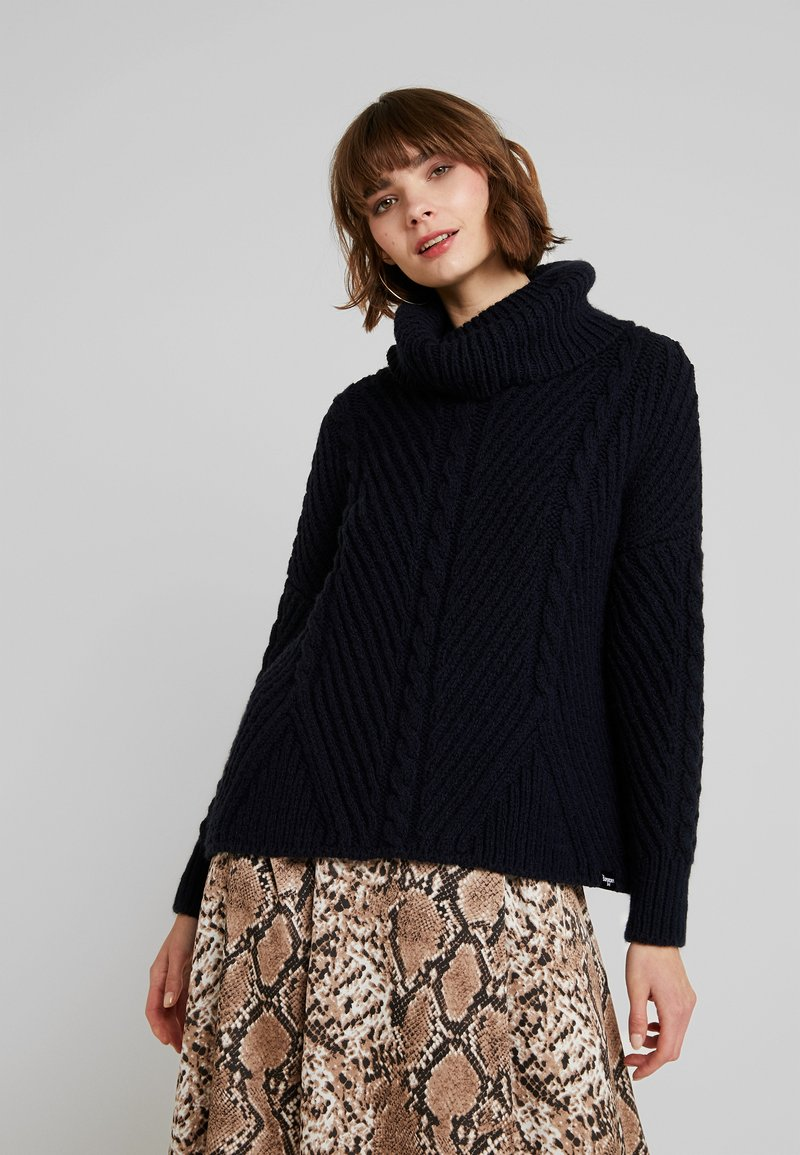 Superdry - TORI CABLE CAPE - Strickpullover - rinse navy