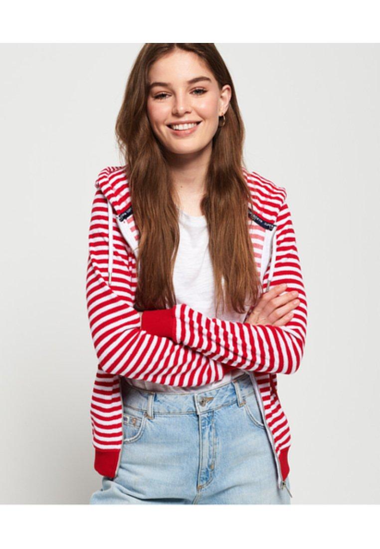 Superdry - veste en sweat zippée - nautical red stripe