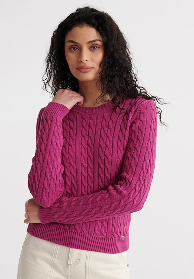 SUPERDRY BECKY CABLE KNIT JUMPER - Jersey de punto - fuchsia