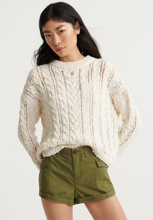 LAYLA OPEN CABLE - Sweter - ecru