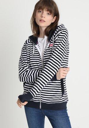 BEACH TERRY ZIPHOOD - veste en sweat zippée - hurricane navy/chalk white