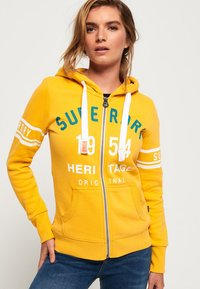 Superdry - HERITAGE - veste en sweat zippée - sporty ochre - 0