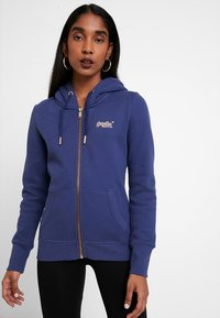 Superdry - LABEL ELITE ZIPHOOD - veste en sweat zippée - hinto blue - 0