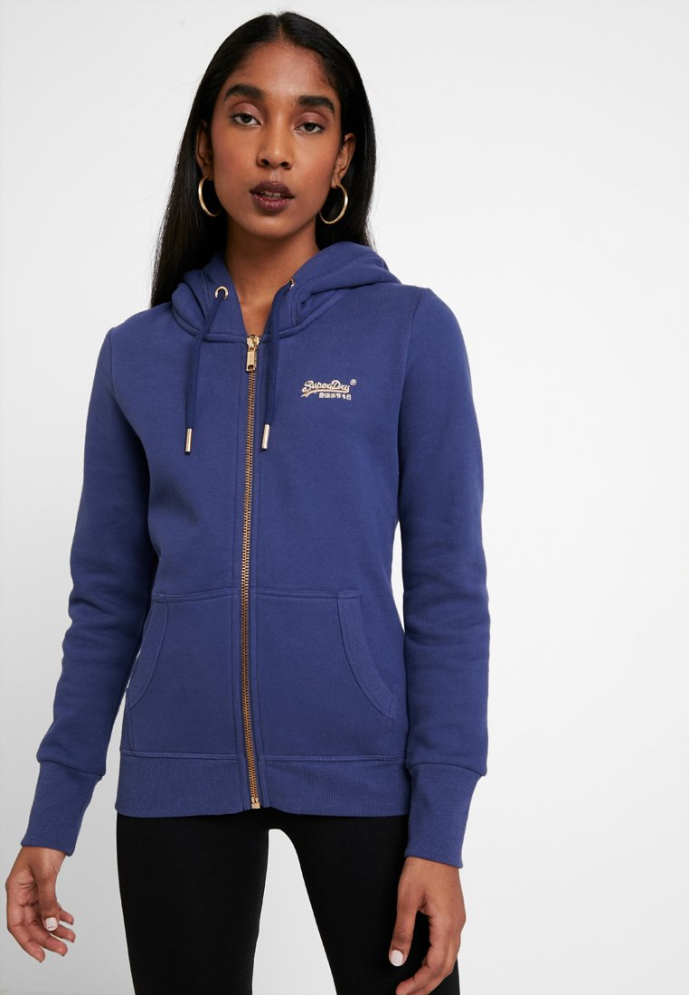 Superdry - LABEL ELITE ZIPHOOD - veste en sweat zippée - hinto blue