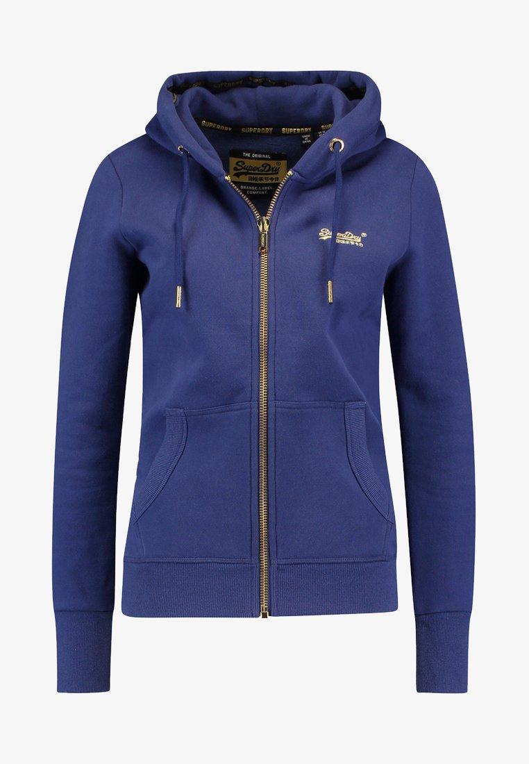 Superdry LABEL ELITE ZIPHOOD - Felpa aperta - hinto blue G5JgKZ fashion style