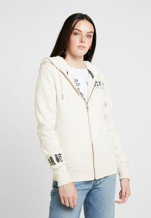 APPLIQUE ZIPHOOD - veste en sweat zippée - soft white