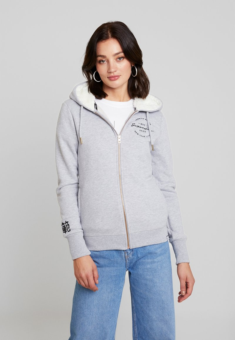 Superdry - APPLIQUE ZIPHOOD - Sudadera con cremallera - mid grey marl
