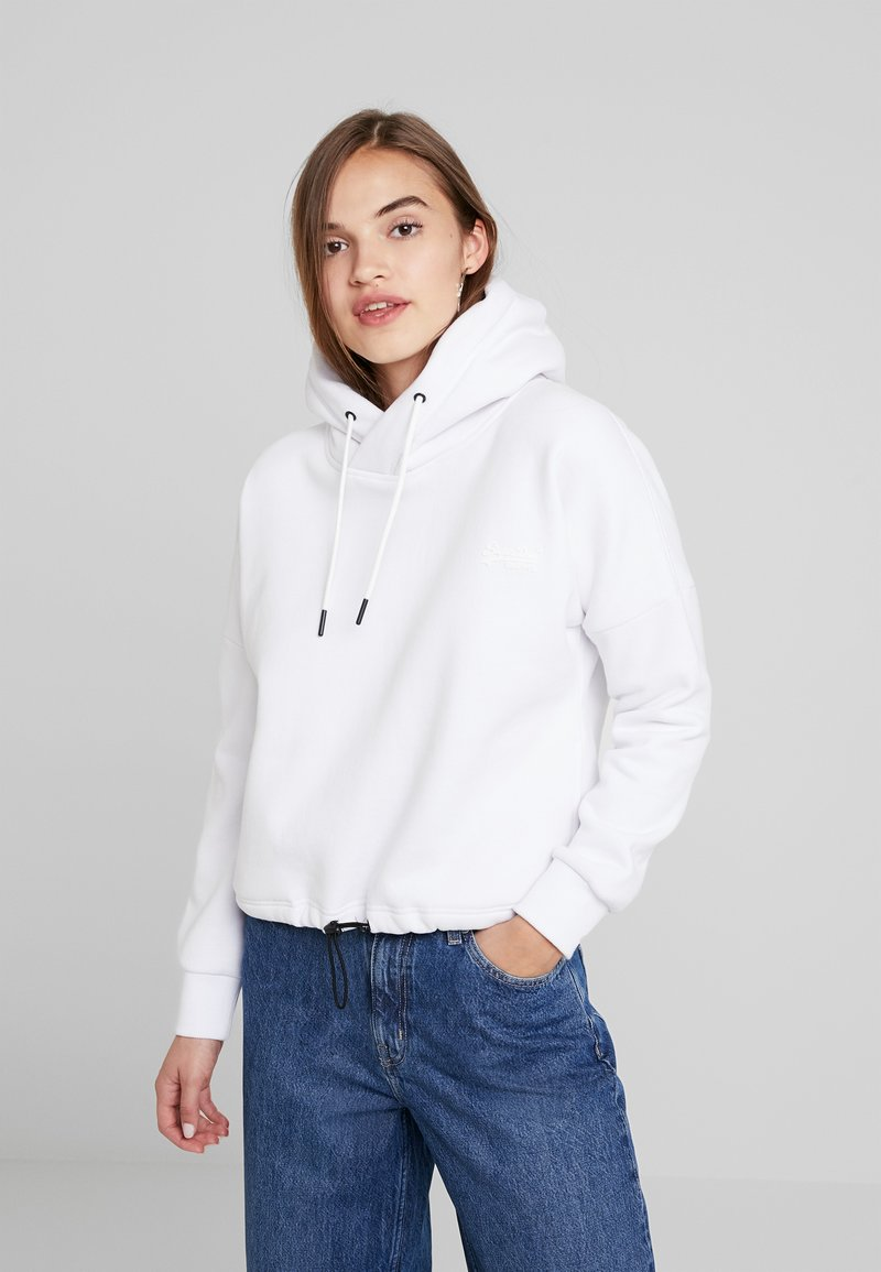 Superdry - ELITE CROP HOOD - Hoodie - white