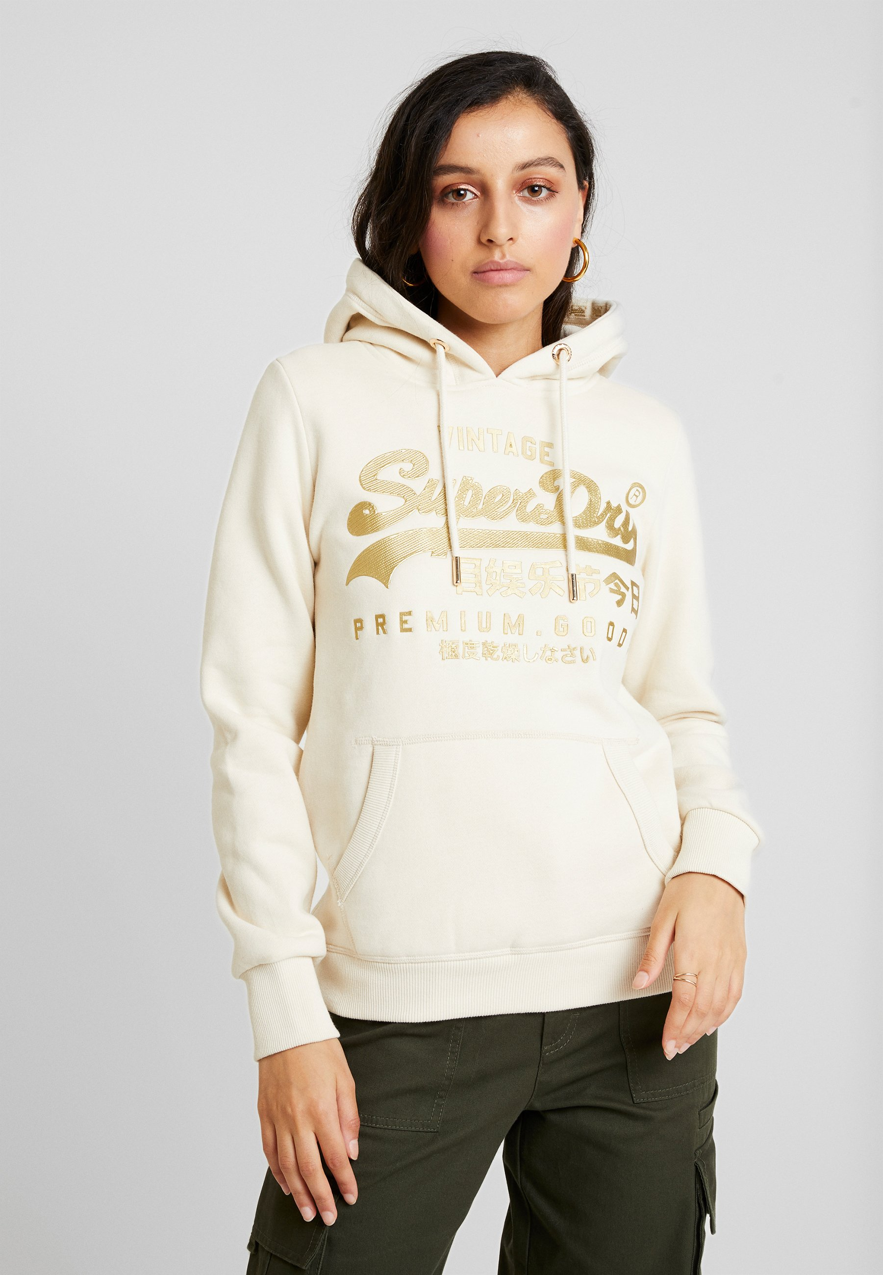Logo Capuche Vintage Luxe White Superdry HoodSweat Soft À Entry EH2DIbYeW9