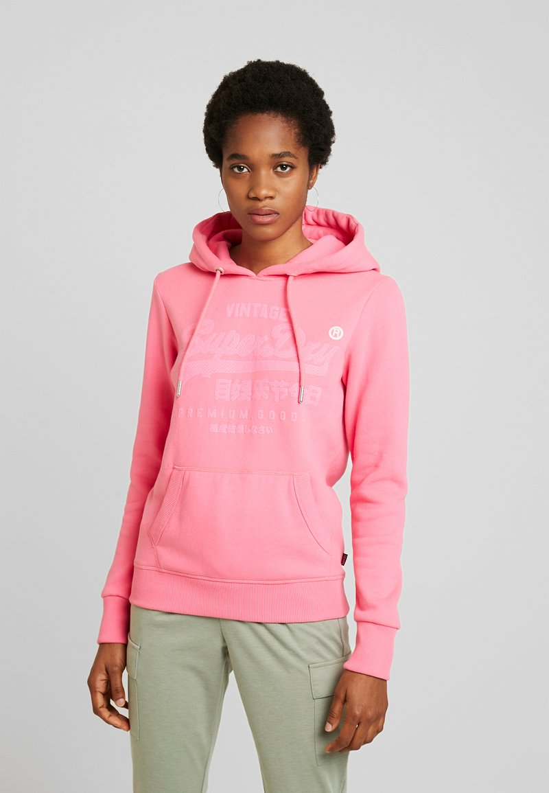 Superdry - PREMIUM GOODS TONAL INFILL ENTRY HOOD - Hoodie - neon pink