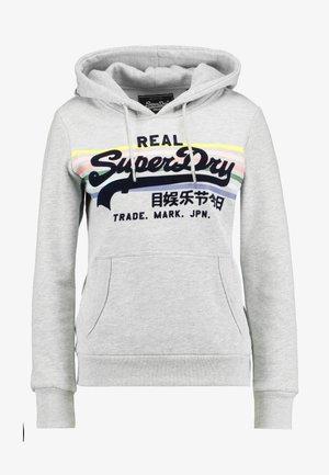 LOGO RAINBOW STRIPE ENTRY HOOD - Bluza z kapturem - pebble grey marl