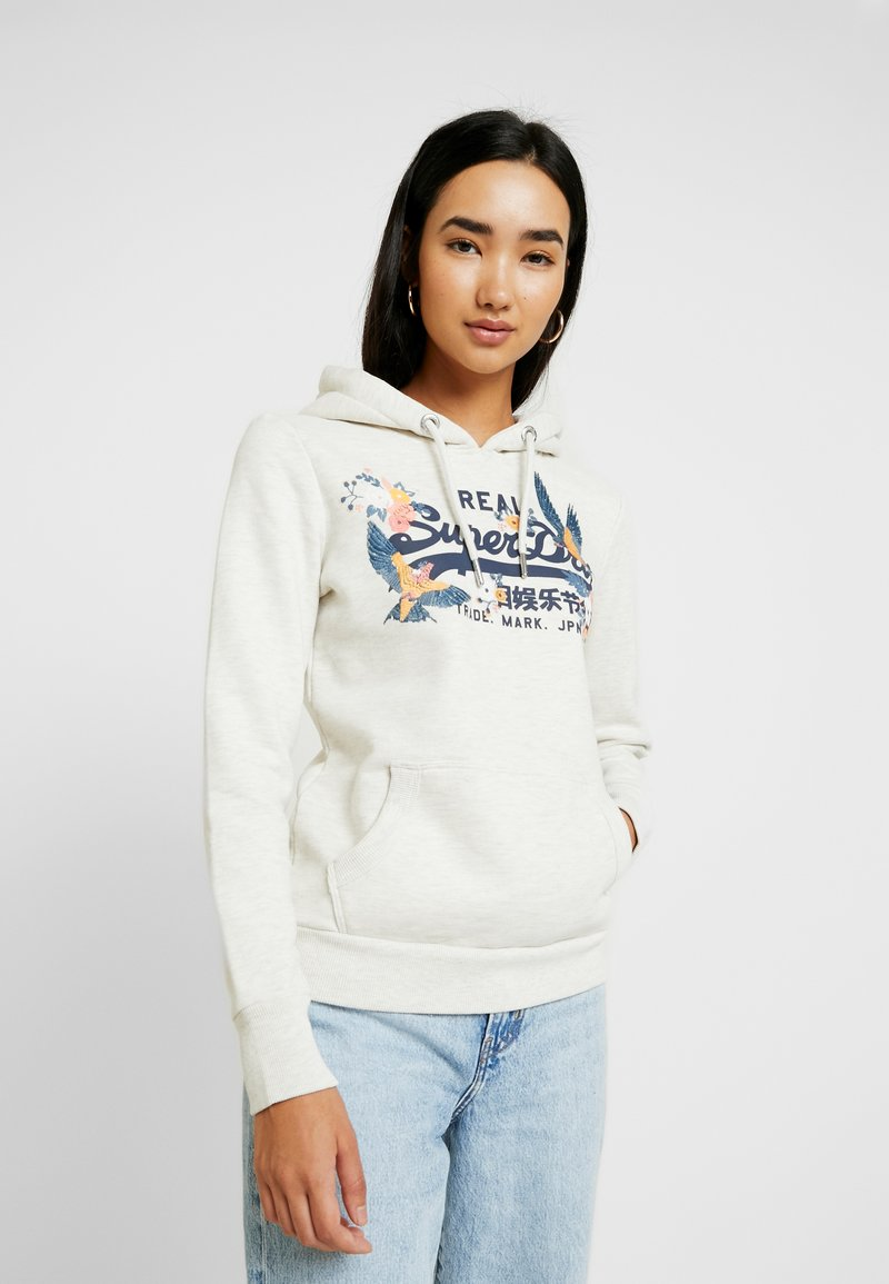 Superdry - V LOGO PUFF ENTRY HOOD - Sweat à capuche - oatmeal marl