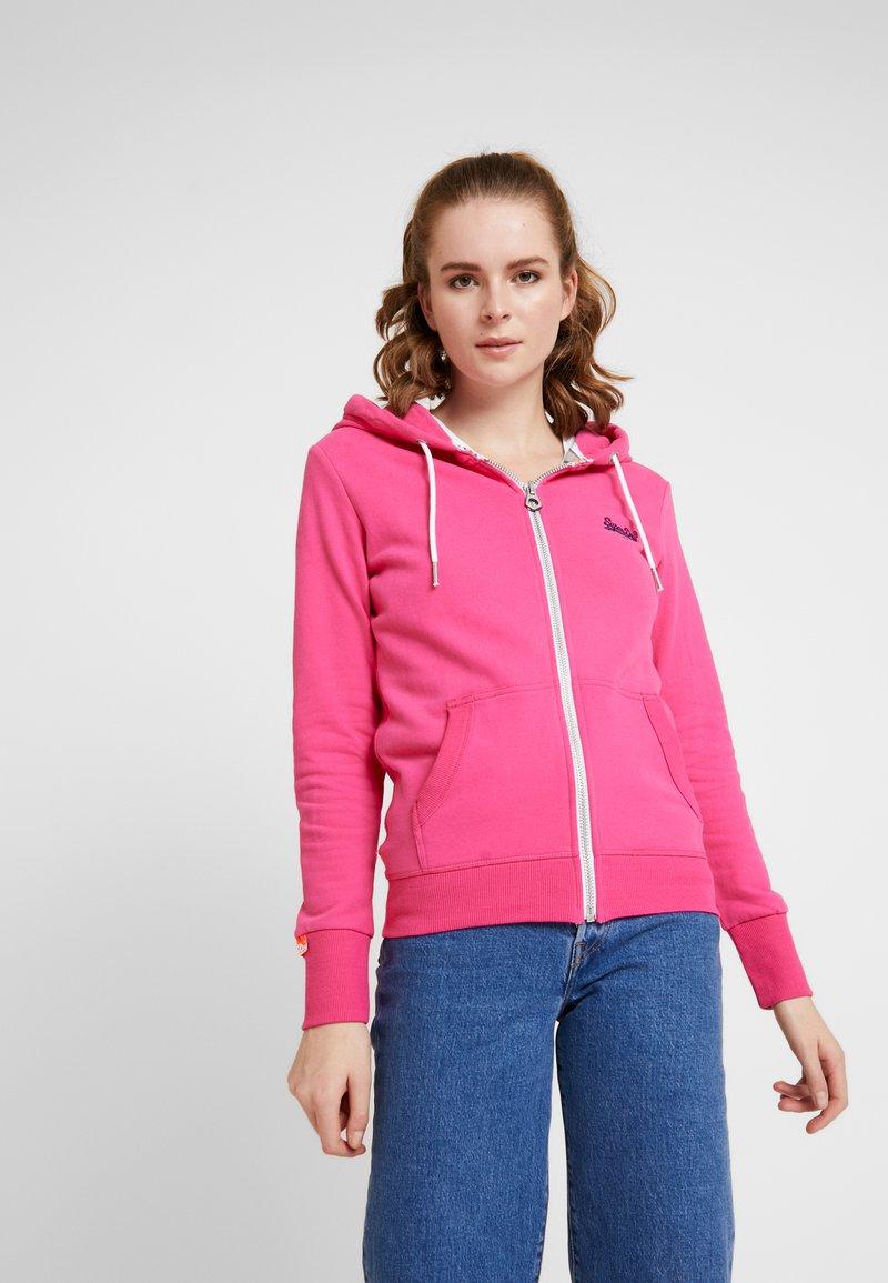Superdry - LABEL LITE ZIPHOOD - veste en sweat zippée - ruby pink
