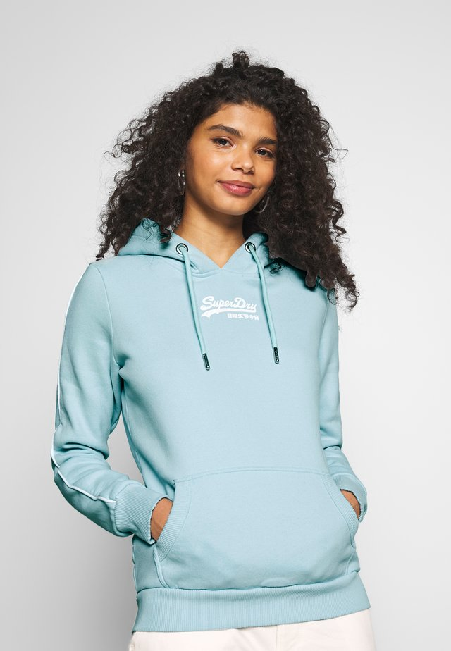 MICRO PIPING ENTRY HOOD - Hoodie - powde/ turquoise