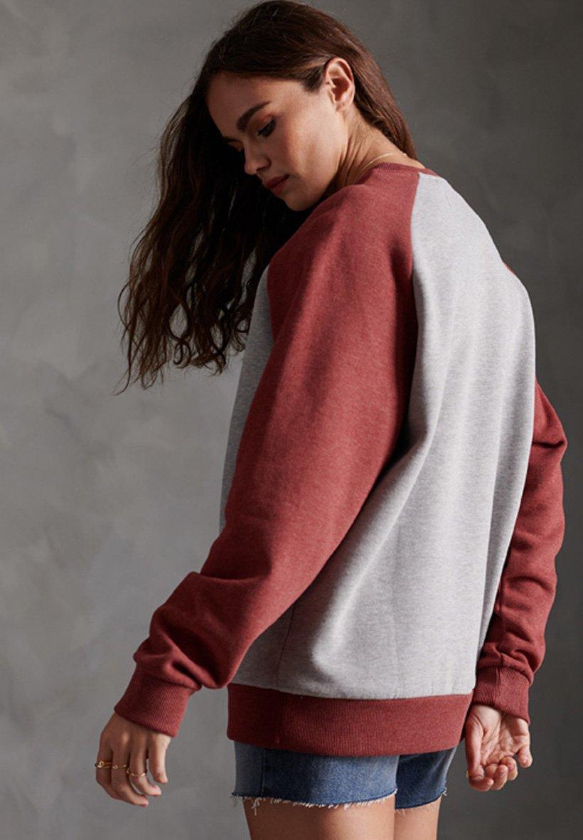 Superdry Sweatshirt - Grey Marl/vintage Brick Red Marl