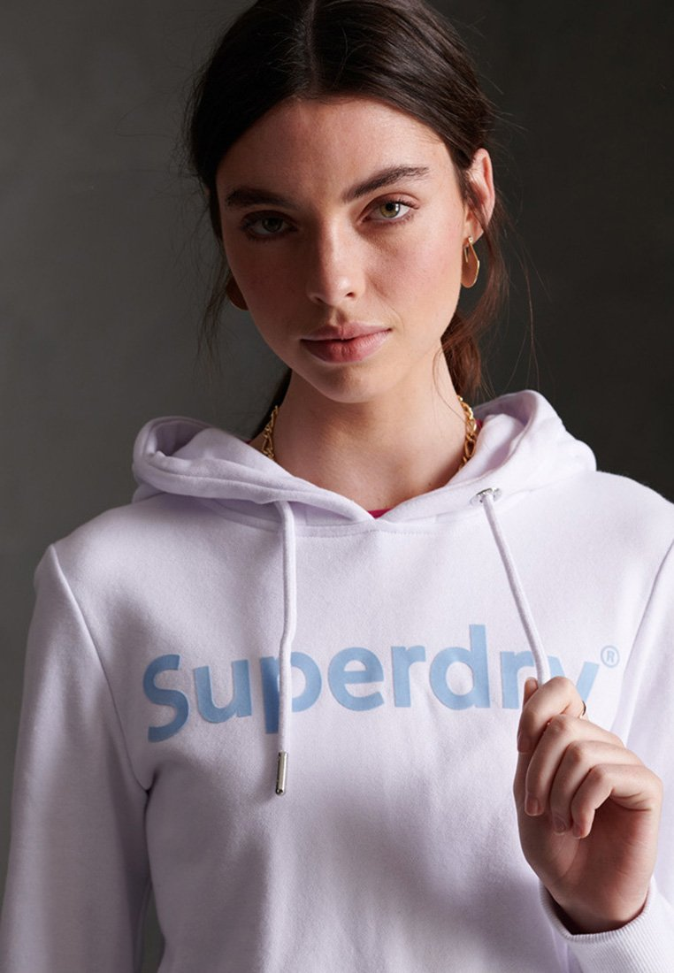 Superdry REGULAR FLOCK LOOPBACK - Felpa con cappuccio - optic wnTKsbzs