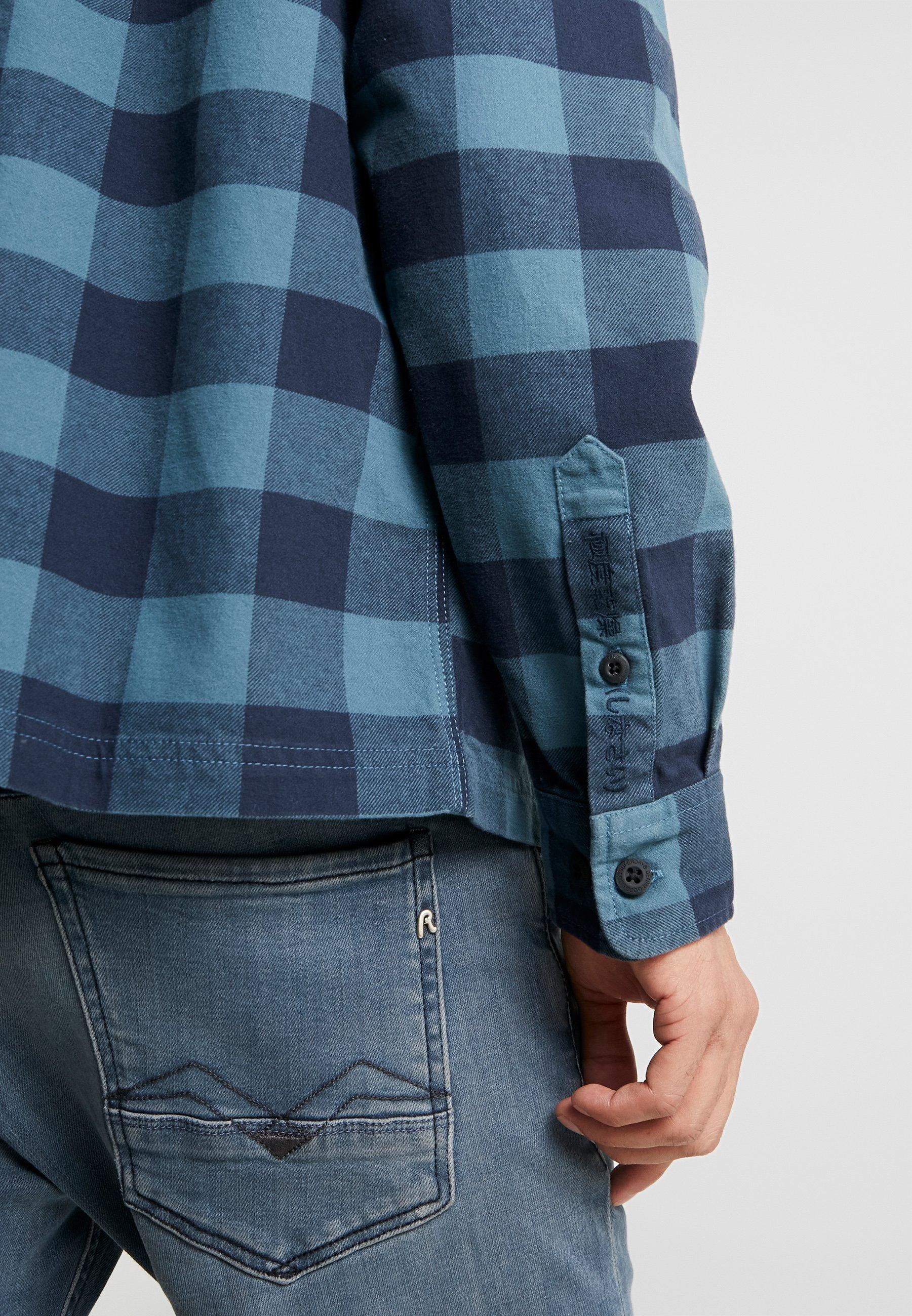 Superdry Workwear Zip Through - Skjorta Blue Check