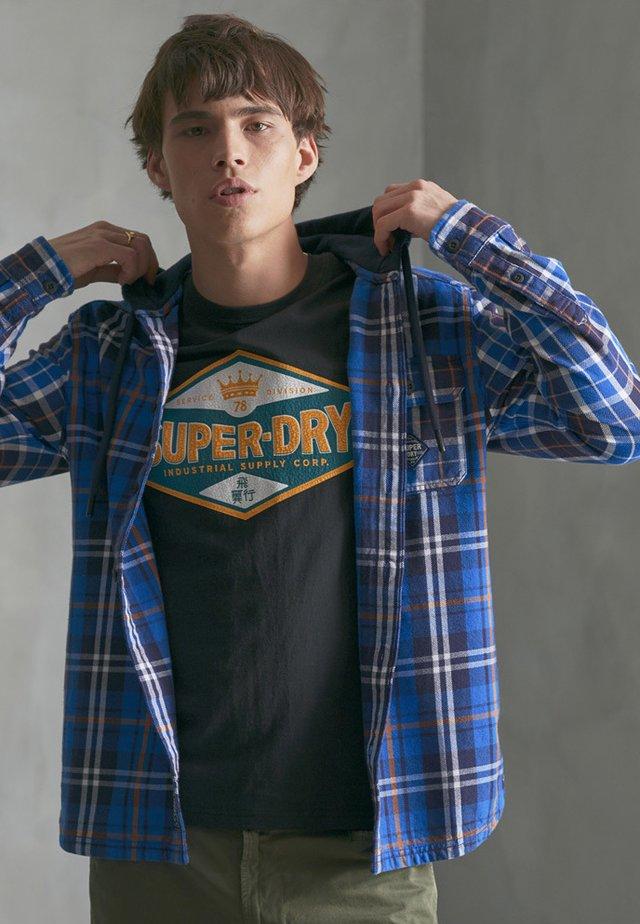 SUPERDRY DENIM GOODS HOODED SHIRT - Overhemd - vibrant blue check