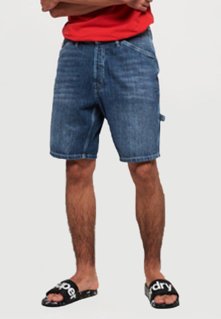 Superdry - EARL WORKER - Denim shorts - blue middle union