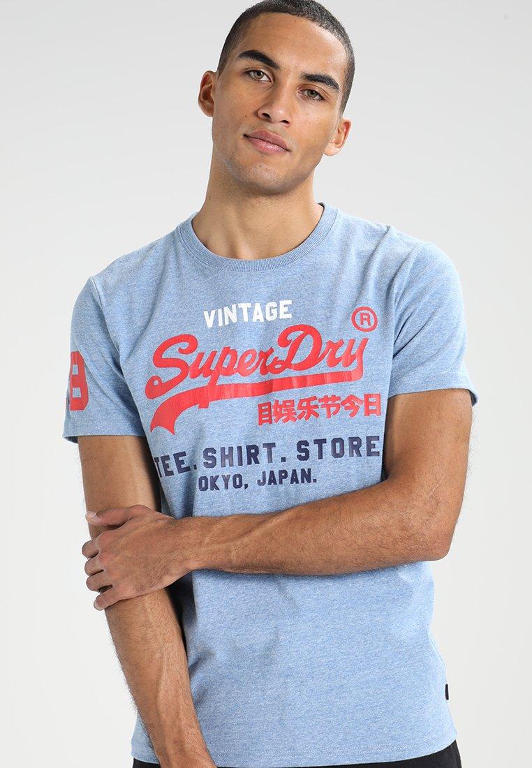 Superdry - SHOP TRI TEE - T-Shirt print - horizon blue marl