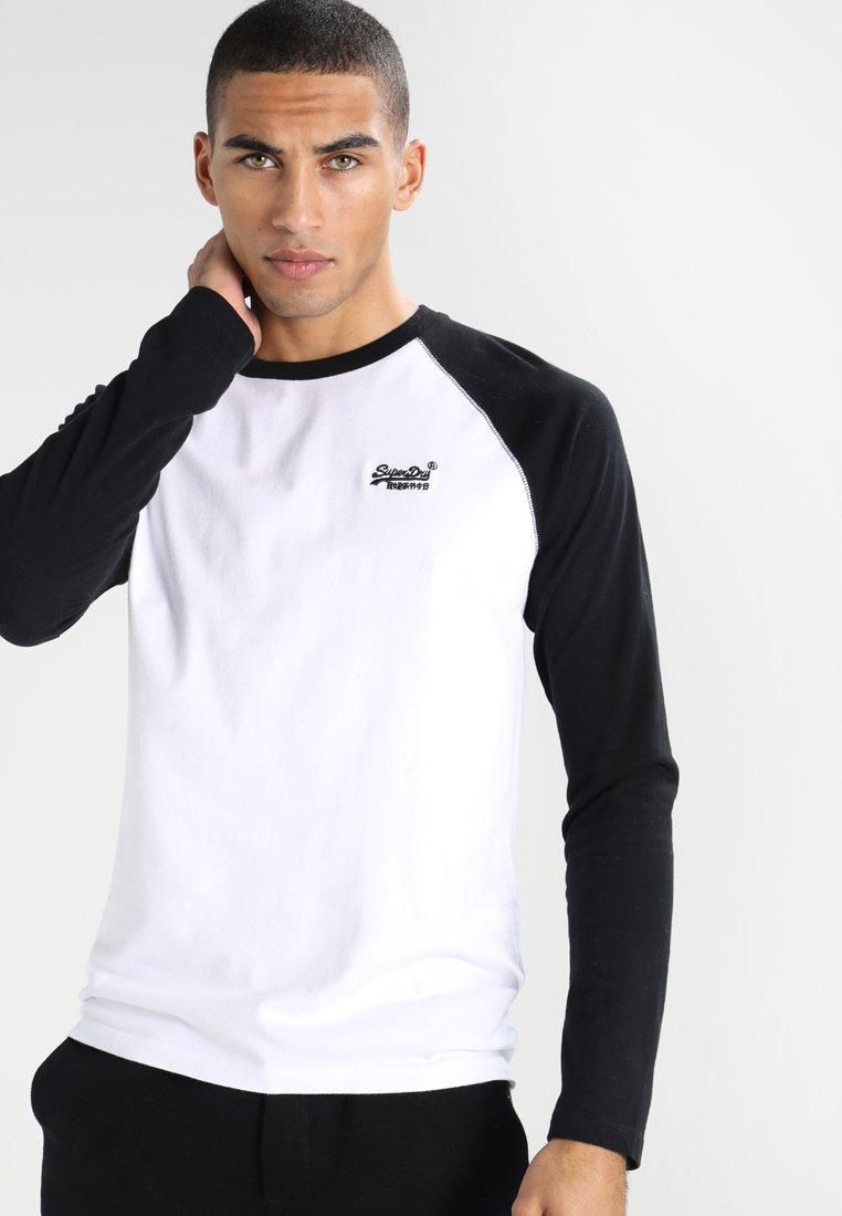 Superdry - ORANGE LABEL BASEBALL TEE - Langarmshirt - black/optic white