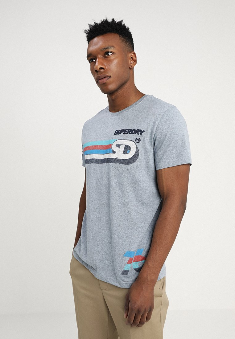 Superdry - MALIBU GRIT MID WEIGHT TEE - Print T-shirt - pacific blue grit