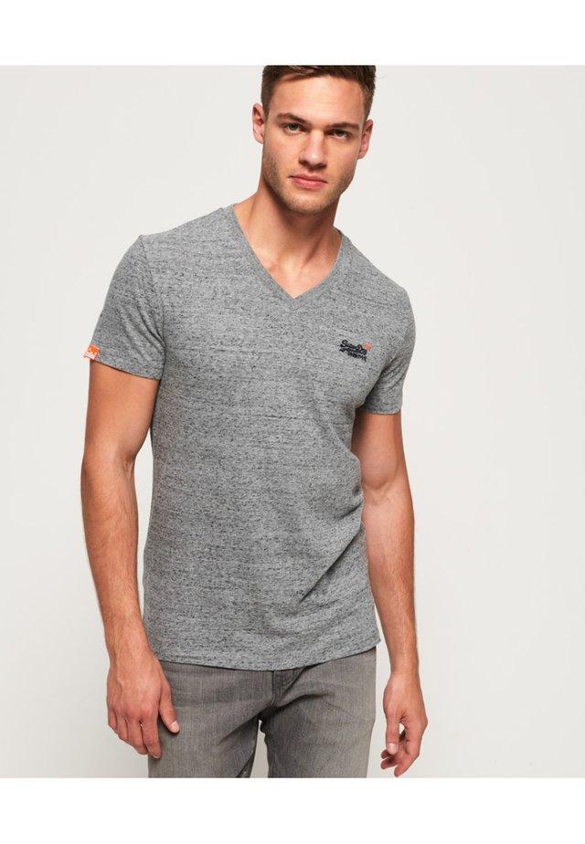 VINTAGE  - T-Shirt basic - flint stahlgrau gesprenkelt