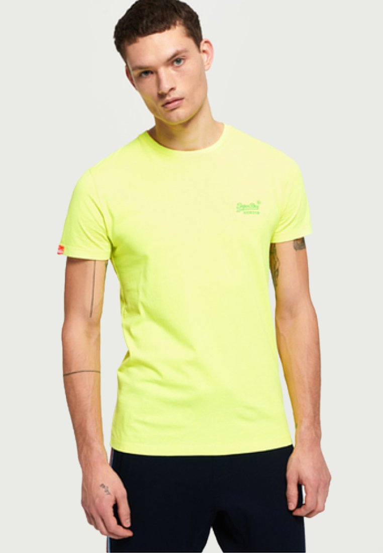 Superdry - LABEL NEON TEE - T-Shirt basic - ice yellow