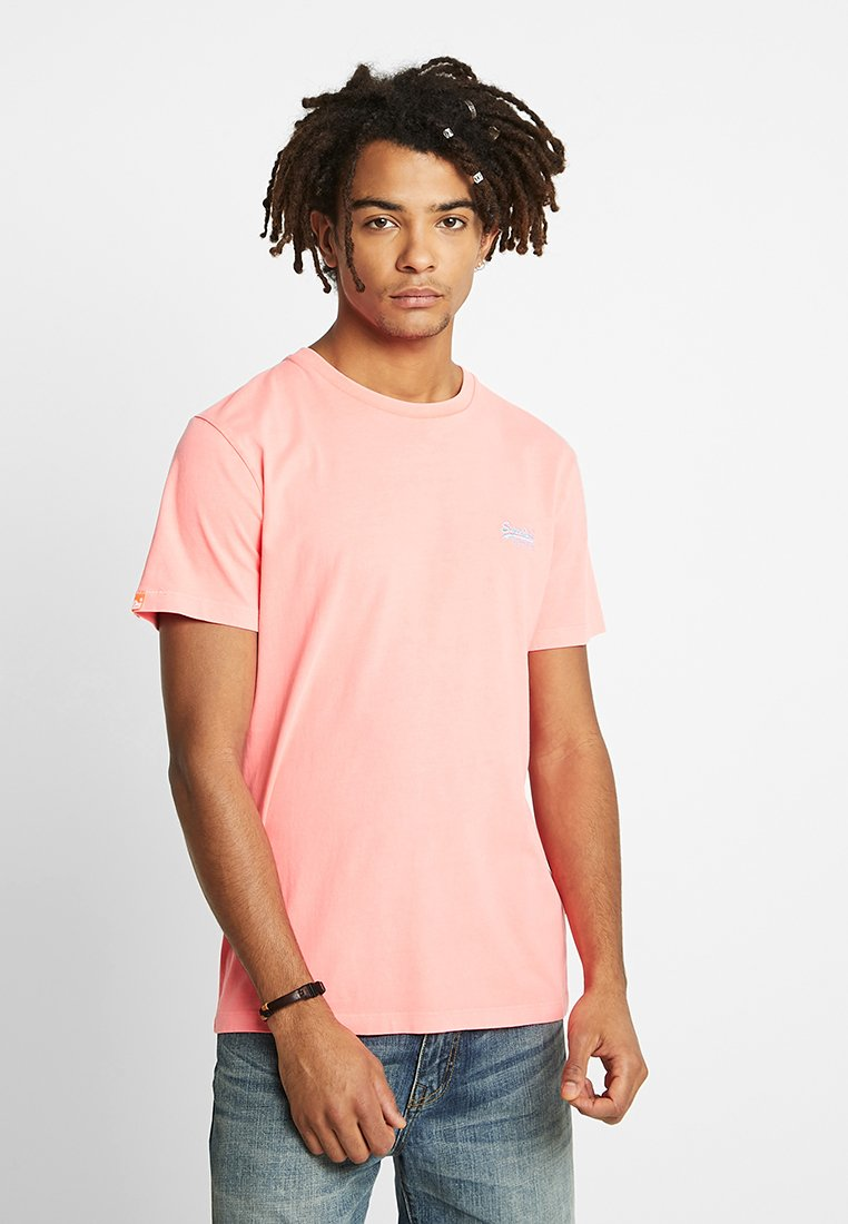 Superdry - LABEL NEON TEE - Basic T-shirt - teaberry pink