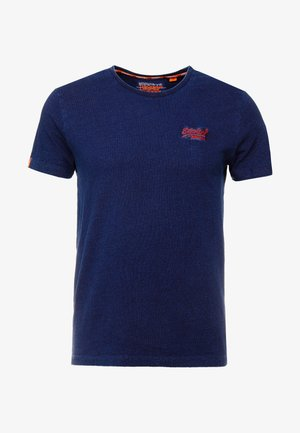 LABEL VINTAGE EMBROIDERY TEE - T-shirt basic - dark wash indigo