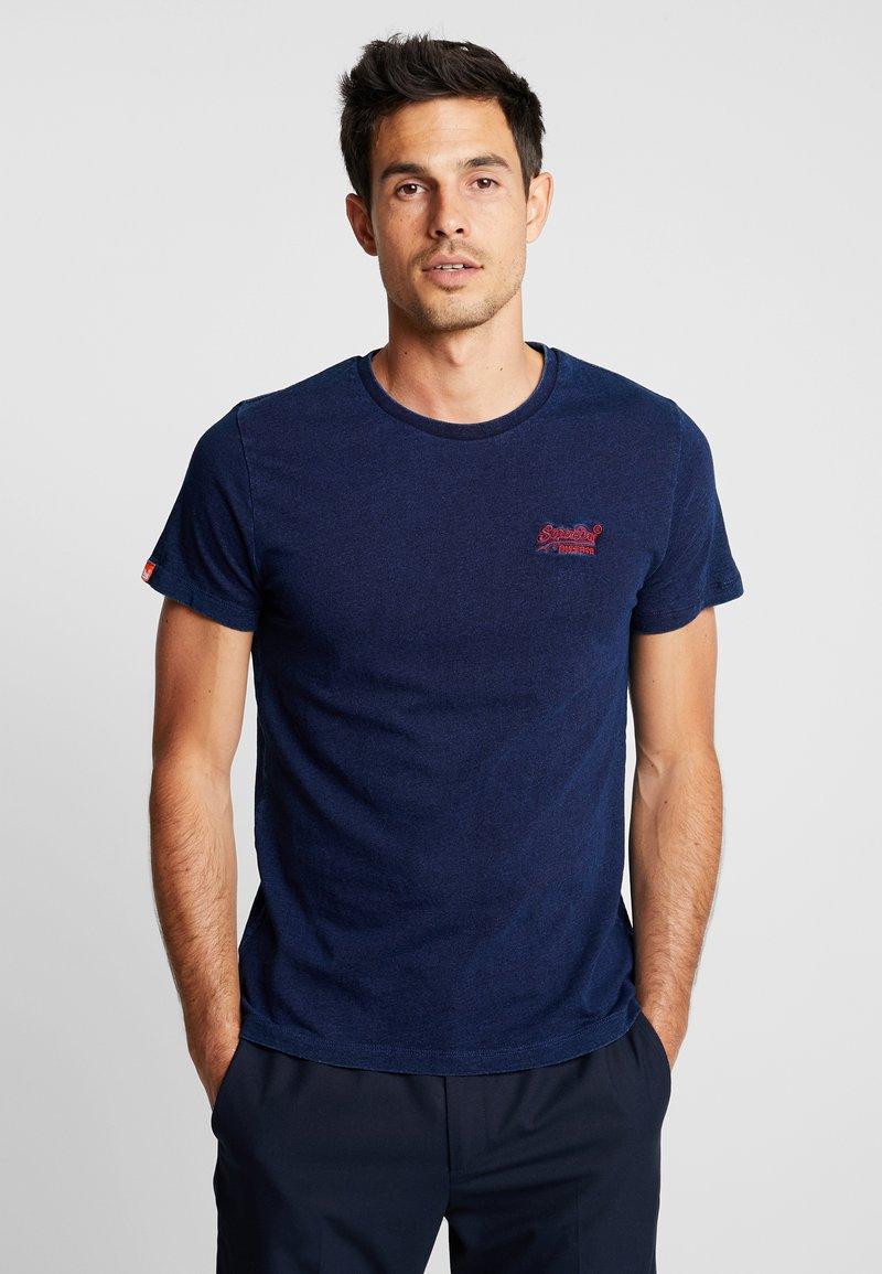Superdry - LABEL VINTAGE EMBROIDERY TEE - T-shirts basic - dark wash indigo