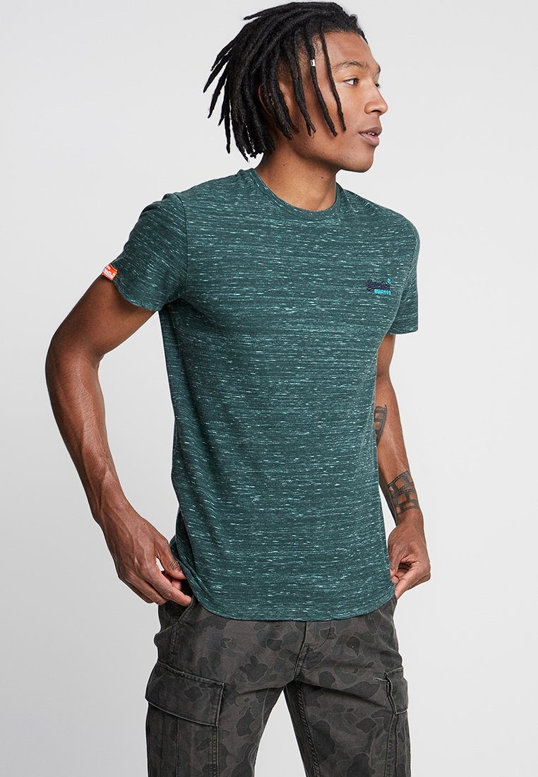 Superdry - LABEL VINTAGE EMBROIDERY TEE - T-shirts - sea green space dye