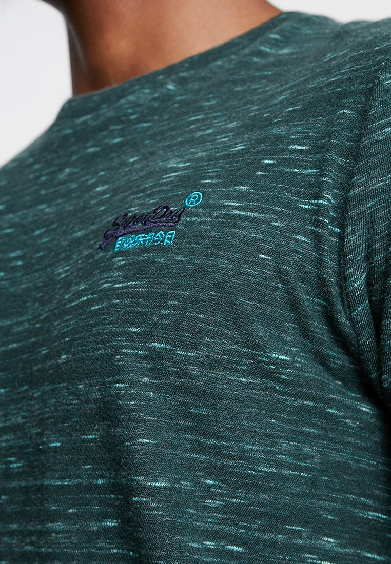 Superdry LABEL VINTAGE EMBROIDERY TEE - T-shirt basic - sea green space dye
