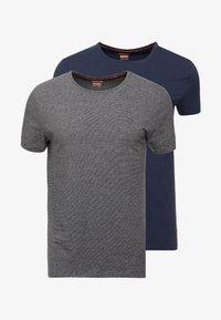 Superdry - 2 PACK - Basic T-shirt - laundry navy/laundry black feeder - 3