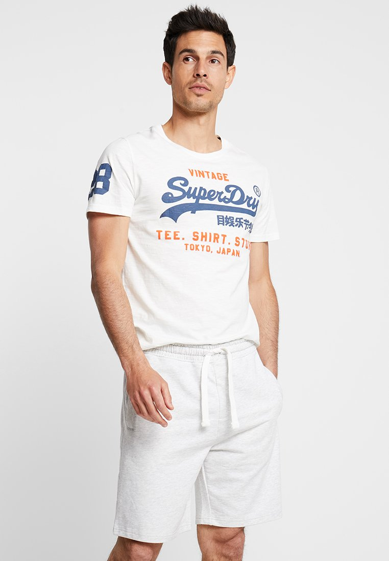 Superdry - SHOP DUO MID TEE - T-shirts print - chalk