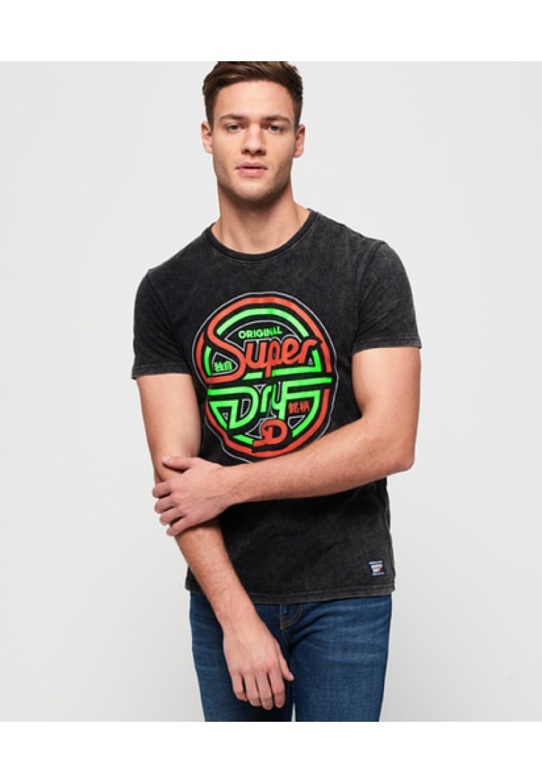 Superdry ACID GRAPHICS - T-shirt z nadrukiem - washed black
