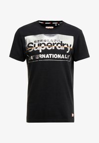 Superdry - RETRO SPORT TEE - Print T-shirt - black/silver - 3