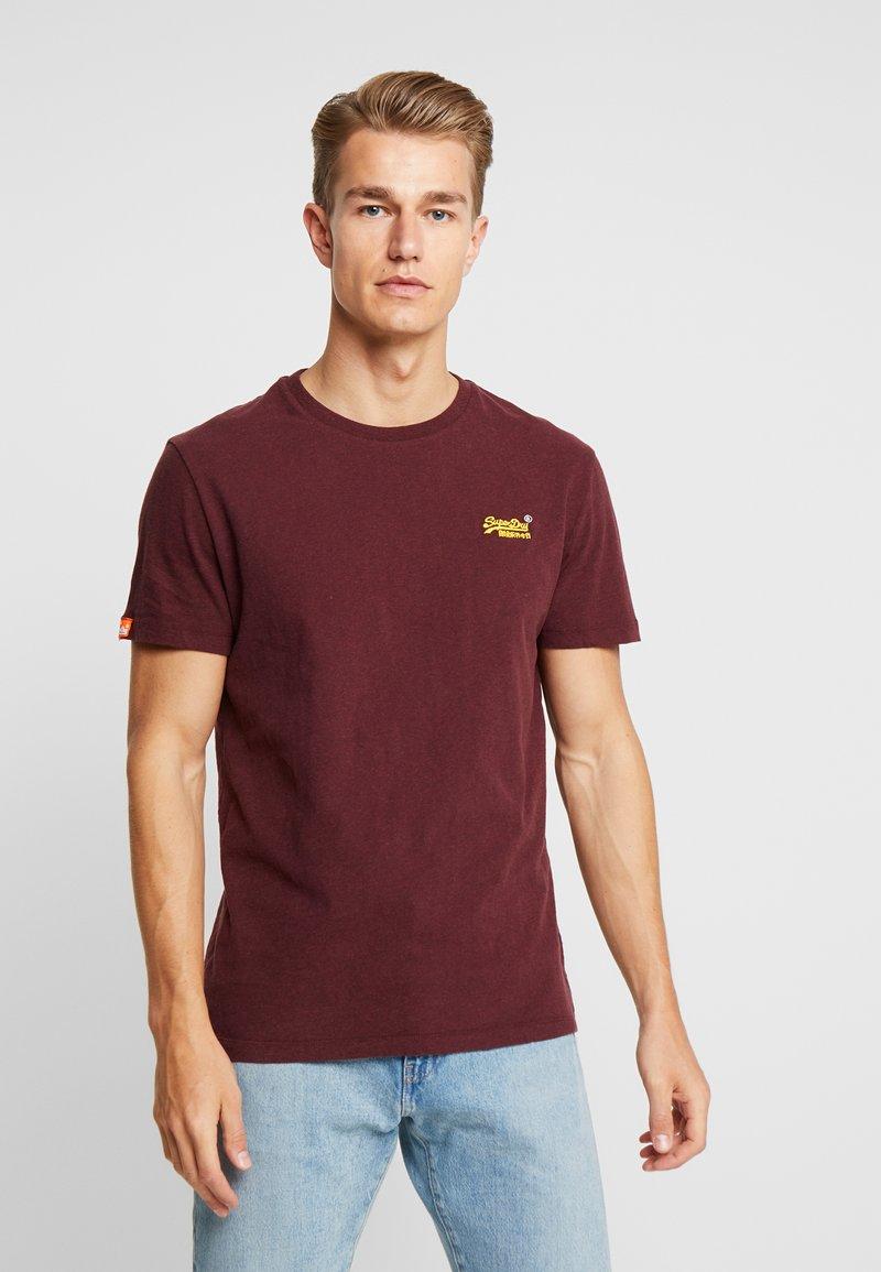 Superdry - VINTAGE EMBROIDERY TEE - T-shirt print - buck burgundy marl