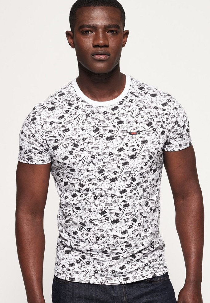 Superdry - LITE NEW HOUSE RULES - T-Shirt print - ice cream white