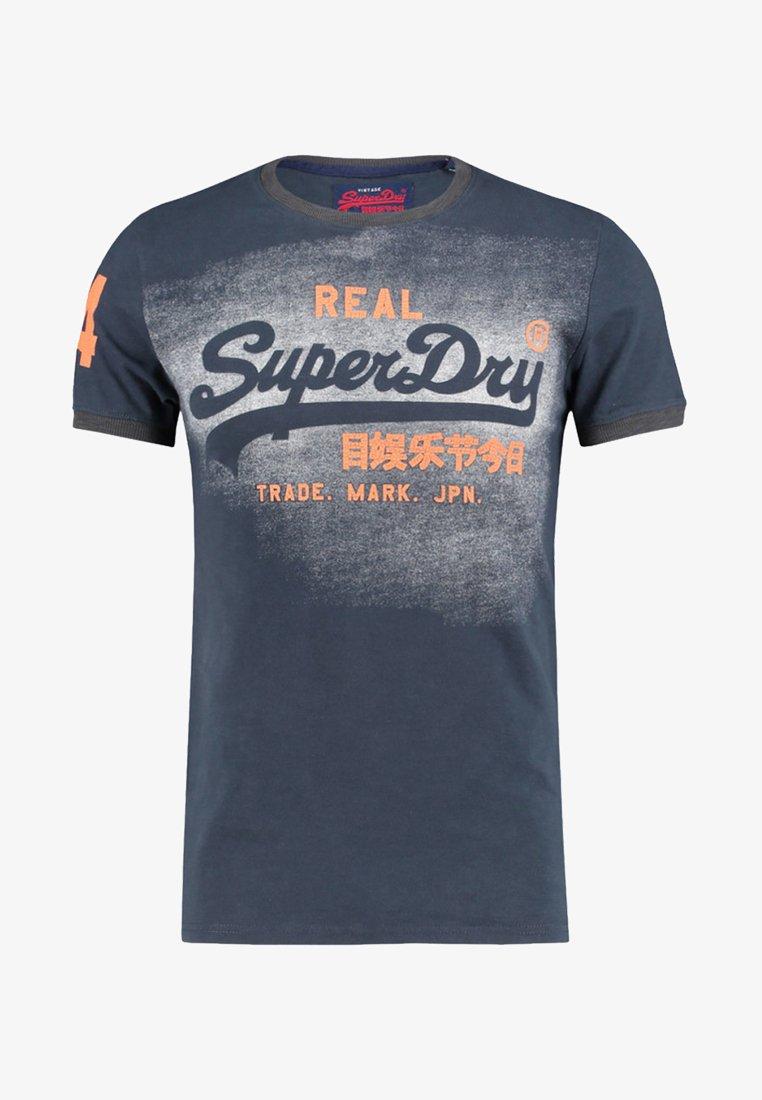 Superdry - VINTAGE LOGO DUO RINGER - Print T-shirt - marine