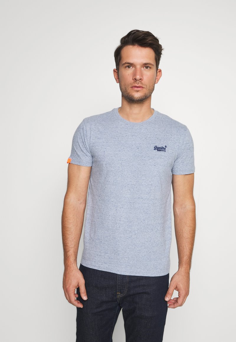 Superdry - LABEL VINTAGE TEE - Camiseta básica - flint blue grit