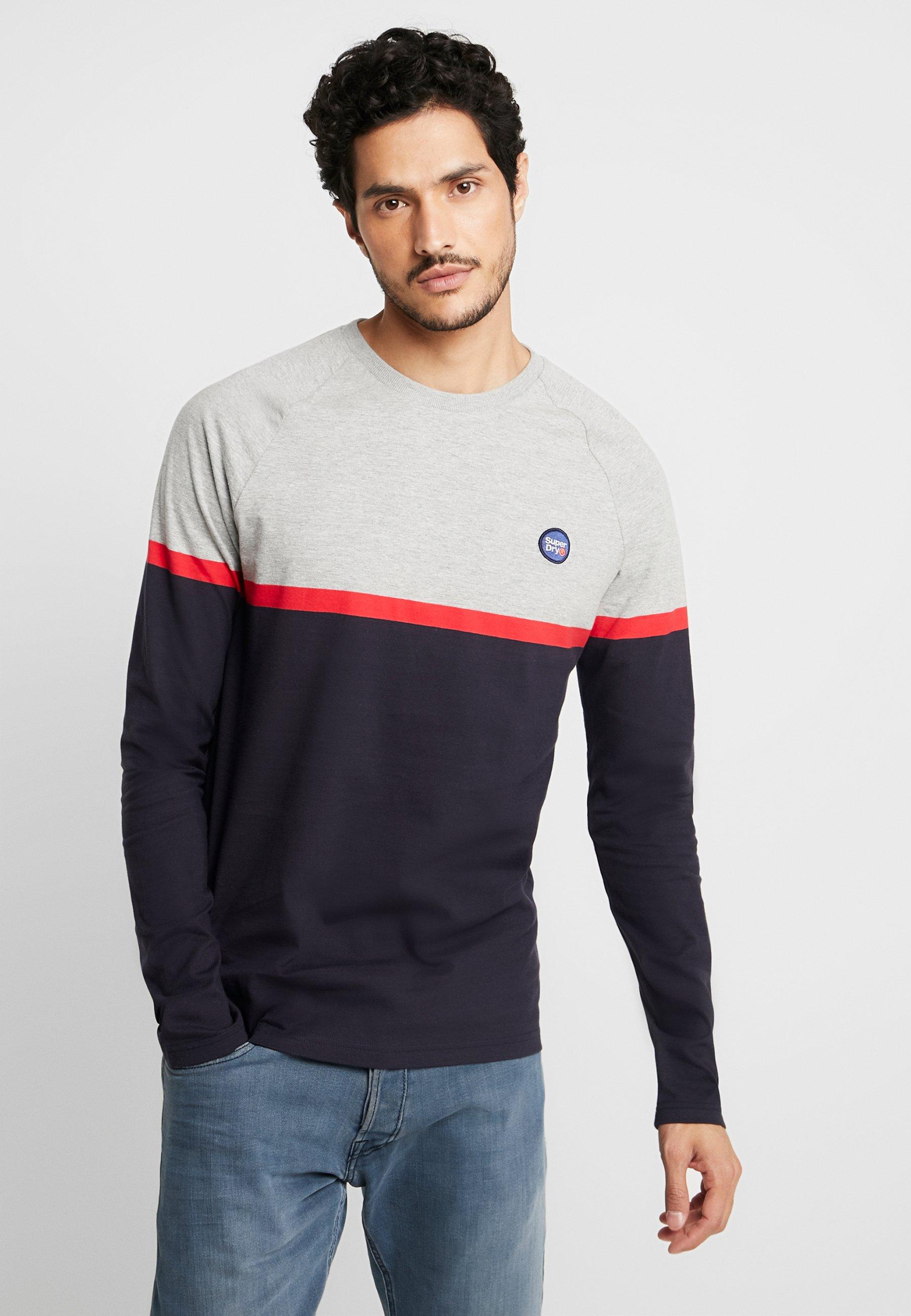 Superdry COLLECTIVE COLOUR BLOCK - Bluzka z długim rękawem - grey marl