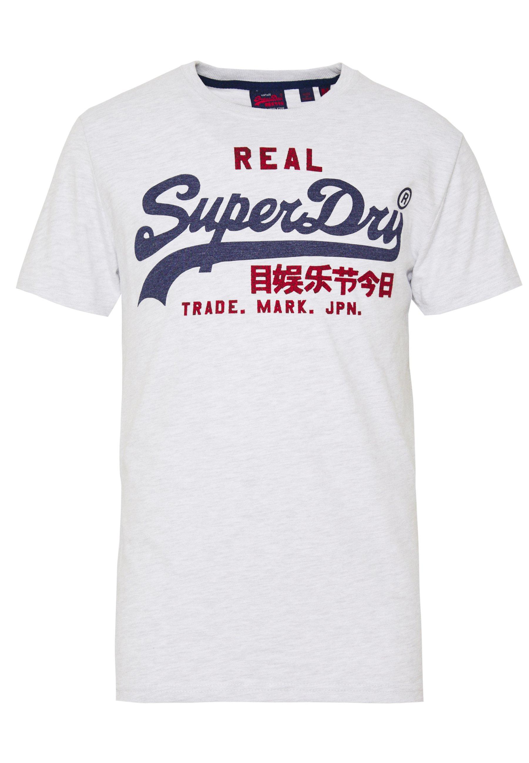 Superdry PREMIUM GOODS HEAT SEALED TEE - T-shirt imprimé - ice marl