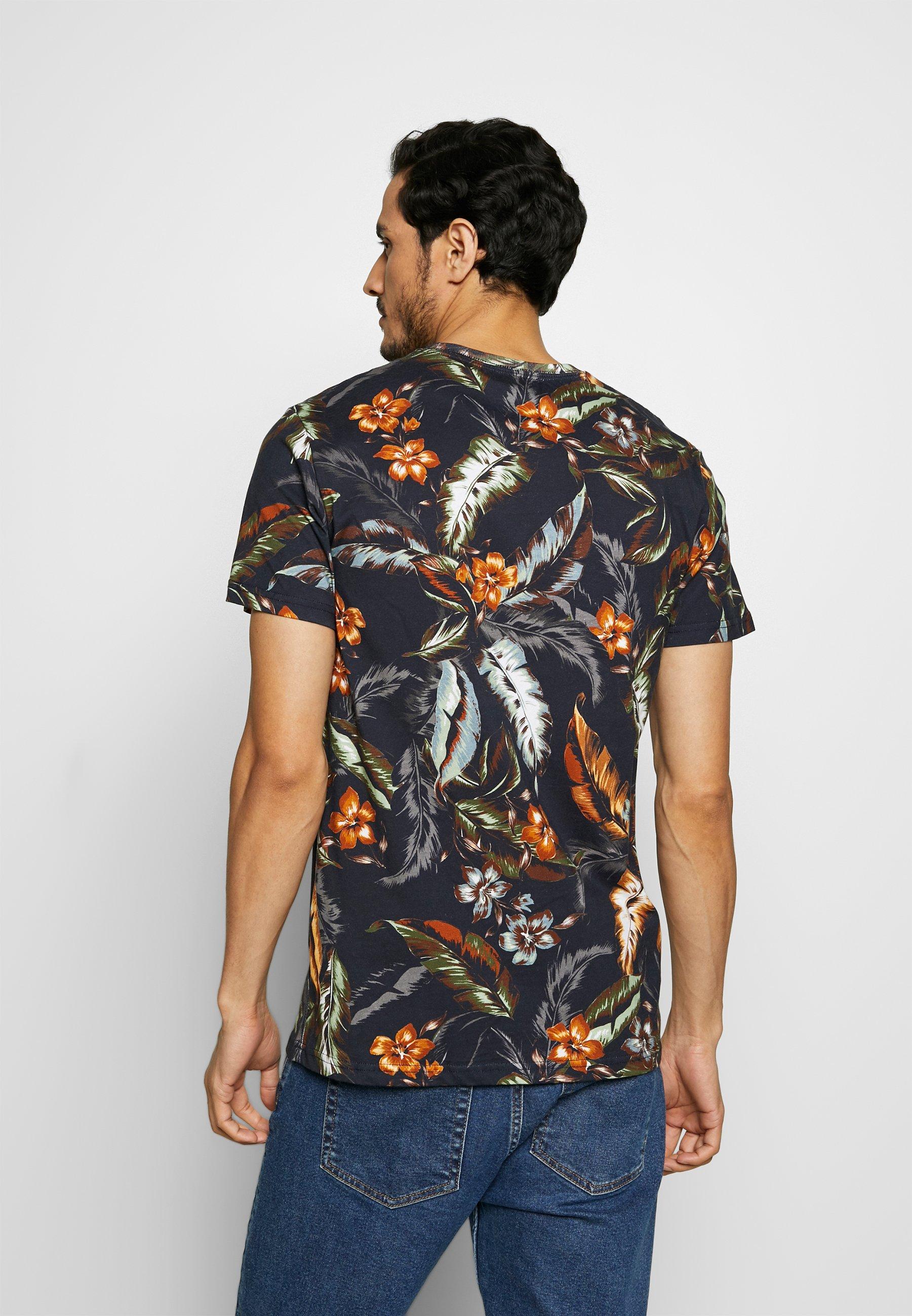Superdry Super Tee - T-shirts Print Indo Leaf Navy